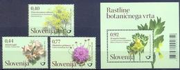 SI 2012-955-8 FLORA, SLOVENIA, 1 X 3v + S/S, MNH - Slovenië