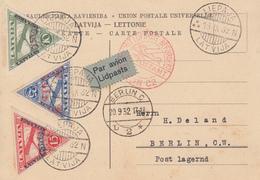 Carte  LETTONIE   Poste  Aérienne   LIEPAJA    1932 - Lettonie