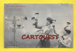 CPA  BERGERET - Sur Les Fils Télégraphiques Couple Romantique 1904 - Bergeret