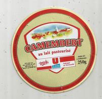 étiquette Fromage , Dessus De Boite , Dia. 11 Cms , Camembert U , Les Nouveaux Commerçants - Fromage