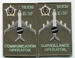 D28 LOT DE 2 PATCH AIR AVIATION BOEING AWACS 36° ESCADRE DE DETECTION AEROPORTEE 10.036 E.3F AVORD - Ecussons Tissu