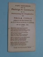Paula COOLS Op 29 April 1951 In De Parochiekerk Van H.H. Petrus En Paulus Te LOENHOUT ( Zie/voir Photo ) ! - Communion