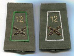 M89 LOT DE 2 FOURREAU EPAULETTE ARTILLERIE 12° RA VERT BLANC - Patches