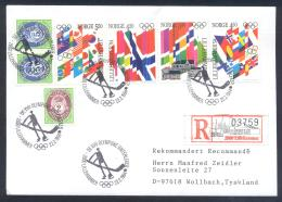 Norway 1994 Registered Cover Ice Hockay Sur Glace Eishockey Special Cancellation: Olympic Games Lillehammer - Hiver 1994: Lillehammer