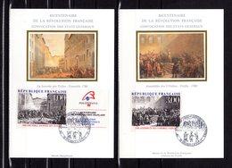 """FRANCE 1988 """" BICENTENAIRE DE LA REVOLUTION FRANCAISE """" Sur 2 Cartes Maximum En Soie. N° YT 2537 2538. Parf état CM - French Revolution"""