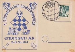 Carte  BADEN   Congrés  D' Echecs   ENDINGEN    1947 - Echecs