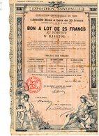Exposition Universelle De Paris 1889. Joli Bon De 25 Francs Au Porteur. - Shareholdings
