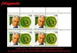 PIEZAS. CUBA. ERRORES. 2013-14 HOMENAJE A ALEXANDER FLEMING. BLOQUE DE CUATRO. PERFORACIÓN DESPLAZADA - Imperforates, Proofs & Errors