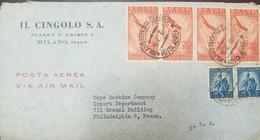 O) 1948 ITALY, RADIO IN THE SKIES- SCOTT AP61, UNITED FAMILY AND SCALES SCOTTA236, AIRMAIL. IL CINGOLO, TO PHLIDELPHIA. - 5. 1944-46 Lieutenance & Umberto II