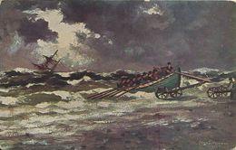 2 AKs Hugo Lissmann Rettung Aus Seenot Color ~1910 # - Illustrators & Photographers