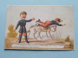 Je Commande Halte, Le Cheval S'arrète, Mais Voyez Donc Cet Autre .... ( HUMOR ) ( +/- 10,5 X 7 Cm. / Detail Zie Foto ) ! - Autres