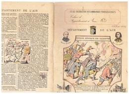 JM21.04 / PROTEGE- CAHIERS - /  DEPARTEMENT DE L AIN ( RUE A BOURG - EGLISE DE BROU ) / DEFENSE HEROIQUE DES BALMETTES - Copertine Di Libri