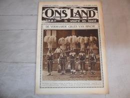 """Origineel Knipsel ( 1201 ) Uit Tijdschrift """" Ons Land In Woord En Beeld """" 1927  : Carnaval  Gilles De Binche - Collections"""