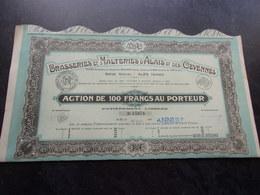 BRASSERIES MALTERIES D'ALAIS ET DES CEVENNES (100 Francs) ALES-GARD - Shareholdings