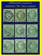 N° 53 CÉRÈS IIIe RÉPUBLIQUE 1872 - 9 EXEMPLAIRES OBLITÉRÉS B / TB À SUPERBES - DIFFÉRENTES NUANCES ET OBLITÉRATIONS - - 1871-1875 Cérès