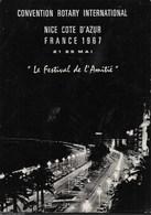 CONVENZIONE ROTARY INTERNATIONAL - NIZZA - 21/25 MAGGIO 1967 - NOTTURNO NIZZA - VIAGGIATA 1967 FRANCOBOLLO ASPORTATO - Eventi