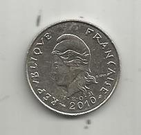 Monnaie , POLYNESIE FRANCAISE , 2010 , 10 F , 2 Scans - Polynésie Française