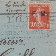 Lille Nord Franchise Militaire Semeuse 10c Montmoreau Charente 1928 - Marcofilie (Brieven)