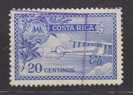 Costa Rica 1926 Mi. 135    20 C. Kaffezweig Mit Wappen Links, Doppeldecker Rechts - Costa Rica