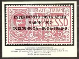 1967 Italia Italy Cartolina N.5527 50° 1° FRANCOBOLLO ESPERIMENTO POSTA AEREA VOLO TORINO ROMA TORINO 1917 -1967 AIRMAIL - Correo Postal