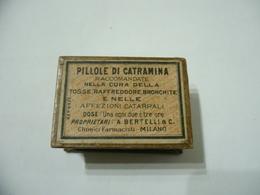 WW2 SANITà SCATOLA DI CARTONe PUBBLICITARIA PILLOLE DI CATRAMINA BERTELLI MILANO - Militari