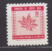 Costa Rica Zwangzuschlagmarke 1965 Mi. 30    5 C. Weihnachtsstern Pflanze, MH* - Costa Rica