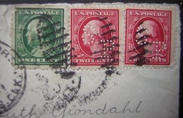 1911 Deux Timbres Perforés à Identifier Sur Une Lettre De Portland (USA) Pour La Norvège - Perforados