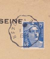 Cachet Convoyeur De Ligne Nexon à Brive Préfecture De La Seine 1954 Pour Limoges Haute Vienne - Spoorwegpost