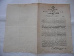 DOCUMENTO CITTà D'INTRA 1918 COMITATO DI ASSISTENZA CIVILE OPERE PRO PATRIA - Documents Historiques