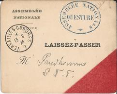 """LAISSEZ  PASSER  ASSEMBLÉE  NATIONALE  QUESTURE  /  Cachet  """"  Versailles  Congrès """" 13/06/1924 - Unclassified"""
