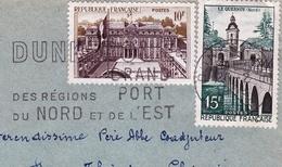 Flamme Dunkerque Grand Port Nord Le Quesnoy Palais De L'Elysée Abbaye Saint André Lophem Lez  Bruges - Postmark Collection (Covers)