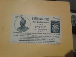 ---- BUVARD ---  Tisane LIBERIA Negresse Et Armes Du ..    évitez La Grippe Rhumes - Angle Plié - Reste état Moyen - Chemist's