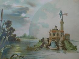 Très Grand  Chromo Sur Papier Fort/ Eolienne Sur île/ Nénuphars Et Roseaux/ Vers 1890-1900   CHRO61 - Autres