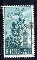 XP2467 - REPUBBLICA POSTA AEREA , 100 Lire Usato Filigrana RUOTA DB + LETTERE Basso . 7/10 - 6. 1946-.. Repubblica