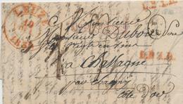 430DT -- Lettre Précurseur LEUZE 1836 Vers La France - TRES RARE Marque De Rayon (pour Taxation) L.B.1.R. - 1830-1849 (Belgique Indépendante)