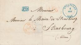 431DT -- Lettre Précurseur En Port Payé BRUXELLES 1845 Vers STRASBOURG - PD Belge Et 12 AED De Belg.Thionville - 1830-1849 (Belgique Indépendante)