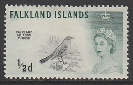 Falkland Islands 1960 Queen Elizabeth II And Birds 1/2 D M Hinged - Falkland Islands