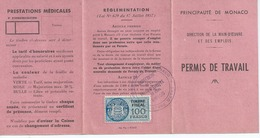 MONACO Permis De Travail A MONACO ROSSO Hopital Monaco Timbre Fiscal100 Francs N21 - Vieux Papiers