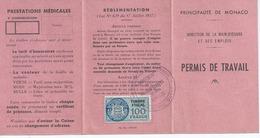 MONACO Permis De Travail A MONACO ROSSO Hopital Monaco Timbre Fiscal100 Francs N21 - Documentos Antiguos