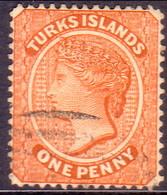 TURKS AND CAICOS ISLANDS 1883 SG #55 1d Used Orange-brown Wmk Crown CA Reversed CV £38 - Turks And Caicos