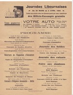 LIBOURNE,,,,PROGRAMME Des JOURNEES LIBOURNAISES  1934,,,, TBE,,,, - Programs