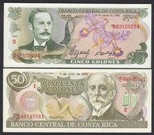 Costa Rica - 5 + 50 Colones Banknoten 1990/93 UNC   (19726 - Billetes