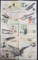 CPA Puzzle En 10 Cartes - Les Conquérants De L'Air - Vedrines - Chavez - Wright - Renaux - Santos Dumont - Bleriot Etc - Airmen, Fliers