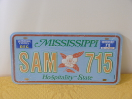 """Plaque D'immatriculation """"MISSISSIPPI"""" - Advertising (Porcelain) Signs"""
