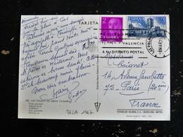 LETTRE ESPAGNE ESPANA SPAIN YT 865A ET 1667 GENERAL FRANCO CATHEDRALE SAINT DAVID COMPOSTELLE - LAS PALMAS - 1931-Aujourd'hui: II. République - ....Juan Carlos I