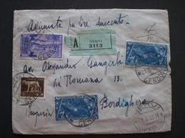 COVER LETTERA ITALIA REGNO RACCOMANDATA 1933 DECENNALE SULLA MARCIA SU ROMA  RIF.TAGG. (43) - Versichert