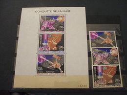 CENTRAFRICAINE - P.A. 1966 LUNA 3 VALORI + BF - NUOVI(++) - Repubblica Centroafricana