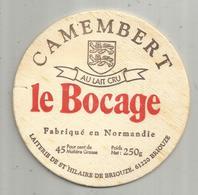 étiquette Fromage , Dessus De Boite , Bois , Camembert LE BOCAGE , 61 , BRIOUZE , Frais Fr 1.45 E - Fromage