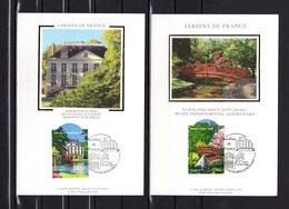 """"""" JARDINS DE FRANCE : REGION PARISIENNE  """" Sur 2 Cartes Maximum En Soie 2006 N°YT 3895 3896. Parfait état. CM - Cartes-Maximum"""