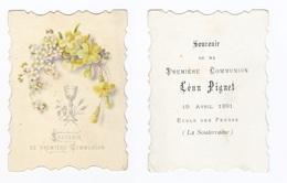 La Souterraine, 1re Communion De Léon Pignet 1891, école Des Frères, Fleurs Et Calice - Devotion Images